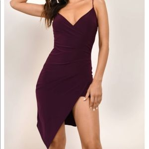 Asymmetrical plum bodycon dress